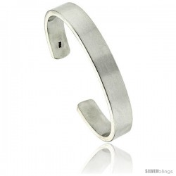 Sterling Silver Very Heavy Gauge Flat Plain Cuff Bangle Bracelet Polished Finish 3/8 in wide