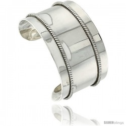 Sterling Silver Flat Cuff Bangle Bracelet with Rope Wire Stripes 1 3/8 in wide