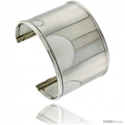 Sterling Silver in wide, Flat Cuff Bangle Bracelet with Dome Wire Edges 1 3/4 in wide