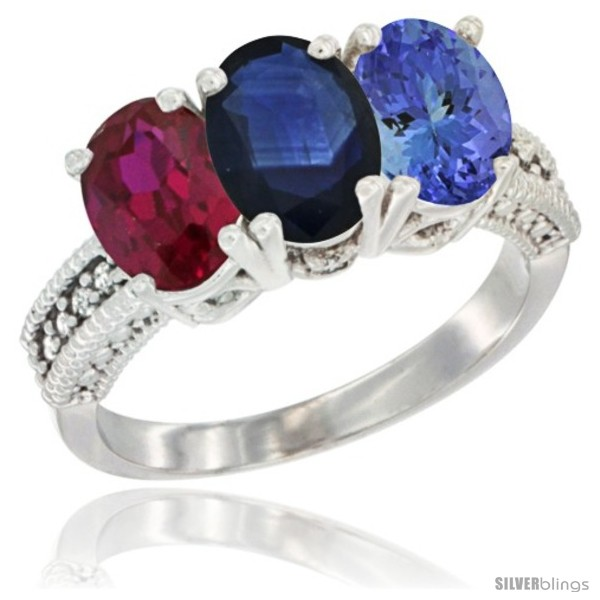 https://www.silverblings.com/3901-thickbox_default/10k-white-gold-natural-ruby-blue-sapphire-tanzanite-ring-3-stone-oval-7x5-mm-diamond-accent.jpg