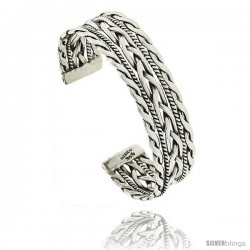 Sterling Silver Twisted and Braided Wire Cuff Bangle Bracelet 11/16 in wide
