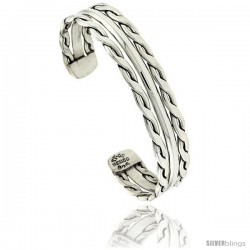 Sterling Silver Twisted Wire Cuff Bangle Bracelet with Dome Center 1/2 in wide