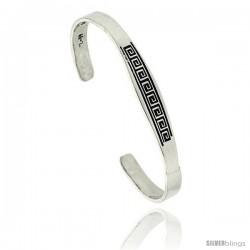 Sterling Silver Flat Cuff Bangle Bracelet with Greek Key Motif 5/16 in wide