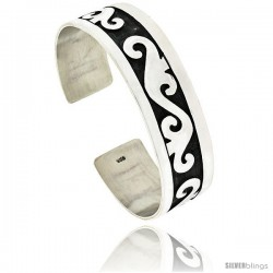 Sterling Silver Flat Cuff Bangle Bracelet with Abstract Motif 11/16 in wide