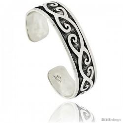 Sterling Silver Flat Cuff Bangle Bracelet with C Scroll Motif 11/16 in wide