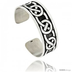 Sterling Silver Flat Cuff Bangle Bracelet with Celtic Knots 7/8 in wide
