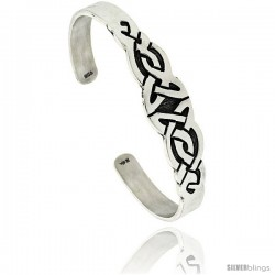 Sterling Silver Flat Cuff Bangle Bracelet with Triquetra Celtic Knots 5/8 in wide