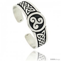 Sterling Silver Flat Cuff Bangle Bracelet with Celtic Knots and Triskele Triple Spiral Symbol 1 in wide