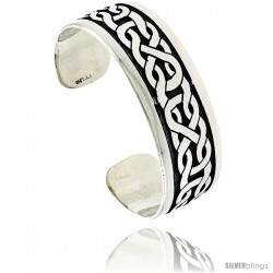 Sterling Silver Flat Cuff Bangle Bracelet with Celtic Knot Pattern 13/16 in wide