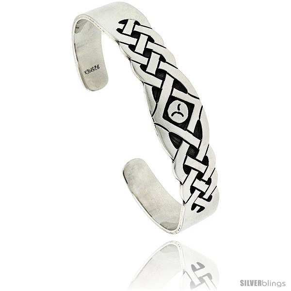Sterling Silver Hopi Design Broken Wave Cuff Bangle 12 In Wide