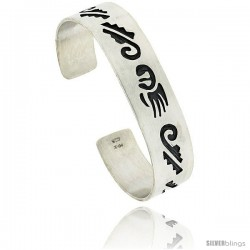 Sterling Silver HOPI Bear Claw Design Cuff Bangle 9/16 in wide