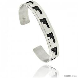 Sterling Silver HOPI Design Cuff Bangle 7/16 in wide