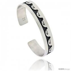 Sterling Silver HOPI Design Greek Key Cuff Bangle 7/16 in wide