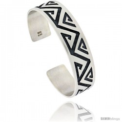 Sterling Silver HOPI Design Zigzag Cuff Bangle 5/8 in wide