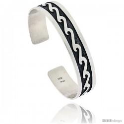 Sterling Silver Wave Design Cuff Bangle 9/16 in wide