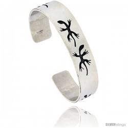Sterling Silver HOPI Design Gecko Cuff Bangle 9/16 in wide