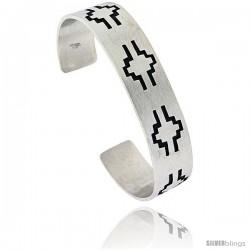 Sterling Silver HOPI Design Cuff Bangle 9/16 in wide
