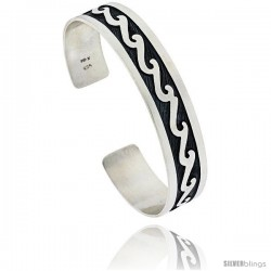 Sterling Silver HOPI Design Wave Cuff Bangle 1/2 in wide