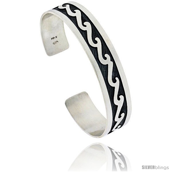 Sterling Silver Hopi Design Wave Cuff Bangle 12 In Wide Silverblings