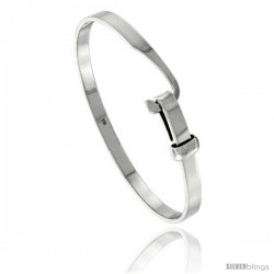 Sterling Silver 5mm wide Polished Bangle Hook-Buckle Clasp, 7 in