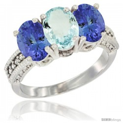 10K White Gold Natural Aquamarine & Tanzanite Sides Ring 3-Stone Oval 7x5 mm Diamond Accent