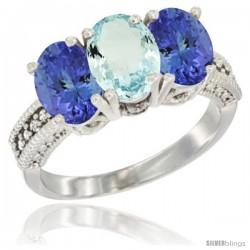 10K White Gold Natural Aquamarine & Tanzanite Sides Ring 3-Stone Oval 7x5 mm Diamond Accent