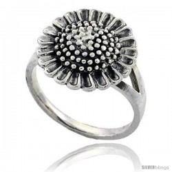 Sterling Silver Large Sunflower Ring 5/8 in wide