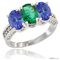 10K White Gold Natural Emerald & Tanzanite Sides Ring 3-Stone Oval 7x5 mm Diamond Accent