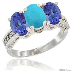 10K White Gold Natural Turquoise & Tanzanite Sides Ring 3-Stone Oval 7x5 mm Diamond Accent