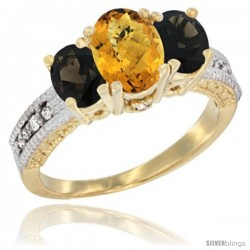 14k Yellow Gold Ladies Oval Natural Whisky Quartz 3-Stone Ring with Smoky Topaz Sides Diamond Accent