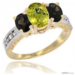 14k Yellow Gold Ladies Oval Natural Lemon Quartz 3-Stone Ring with Smoky Topaz Sides Diamond Accent