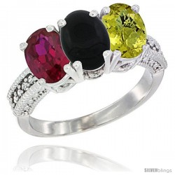 10K White Gold Natural Ruby, Black Onyx & Lemon Quartz Ring 3-Stone Oval 7x5 mm Diamond Accent