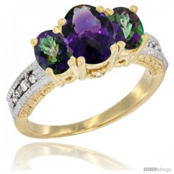 14k Yellow Gold Ladies Oval Natural Amethyst 3-Stone Ring with Mystic Topaz Sides Diamond Accent
