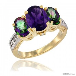 14K Yellow Gold Ladies 3-Stone Oval Natural Amethyst Ring with Mystic Topaz Sides Diamond Accent