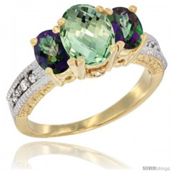 14k Yellow Gold Ladies Oval Natural Green Amethyst 3-Stone Ring with Mystic Topaz Sides Diamond Accent