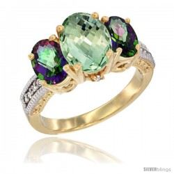 14K Yellow Gold Ladies 3-Stone Oval Natural Green Amethyst Ring with Mystic Topaz Sides Diamond Accent