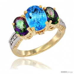 14K Yellow Gold Ladies 3-Stone Oval Natural Swiss Blue Topaz Ring with Mystic Topaz Sides Diamond Accent