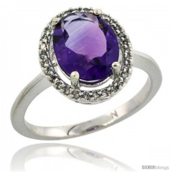 10k White Gold Diamond Halo Amethyst Ring 2.4 carat Oval shape 10X8 mm, 1/2 in (12.5mm) wide