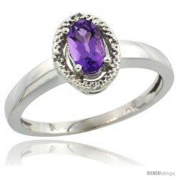 10k White Gold Diamond Halo Amethyst Ring 0.75 Carat Oval Shape 6X4 mm, 3/8 in (9mm) wide