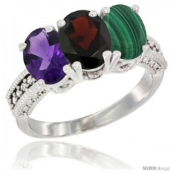 10K White Gold Natural Amethyst, Garnet & Malachite Ring 3-Stone Oval 7x5 mm Diamond Accent