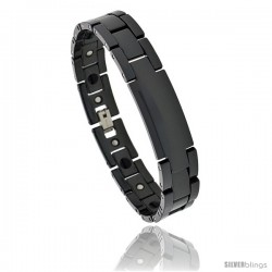 Ceramic Black ID Bracelet Magnetic Therapy, 7/16 in wide
