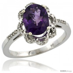 10k White Gold Diamond Halo Amethyst Ring 1.65 Carat Oval Shape 9X7 mm, 7/16 in (11mm) wide