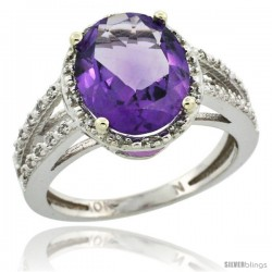 10k White Gold Diamond Halo Amethyst Ring 2.85 Carat Oval Shape 11X9 mm, 7/16 in (11mm) wide