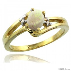 10k Yellow Gold Ladies Natural Opal Ring oval 6x4 Stone -Style Cy920165