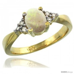 10k Yellow Gold Ladies Natural Opal Ring oval 7x5 Stone -Style Cy920168