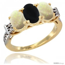 10K Yellow Gold Natural Black Onyx & Opal Sides Ring 3-Stone Oval 7x5 mm Diamond Accent
