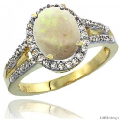 10k Yellow Gold Ladies Natural Opal Ring oval 10x8 Stone