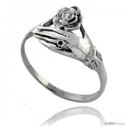 Sterling Silver Hand Holding Flower Ring 7/16 in wide