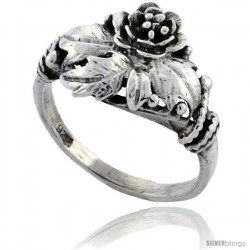 Sterling Silver Flower Ring 1/2 in wide