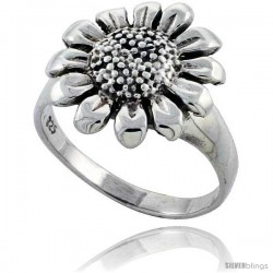 Sterling Silver Large Sunflower Ring 5/8 in wide -Style Tr580